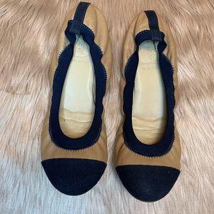 J Crew Navy & Brown Stretch Ballet Flats Size 8